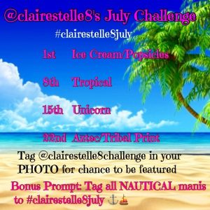 #clairestelle8challenge/#clairestelle8july prompts for July 2017