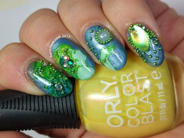 Mermaid's Treasure - 30 Days of Color - Hermit Werds - a bling mermaid mani with pearls and caviar beads.