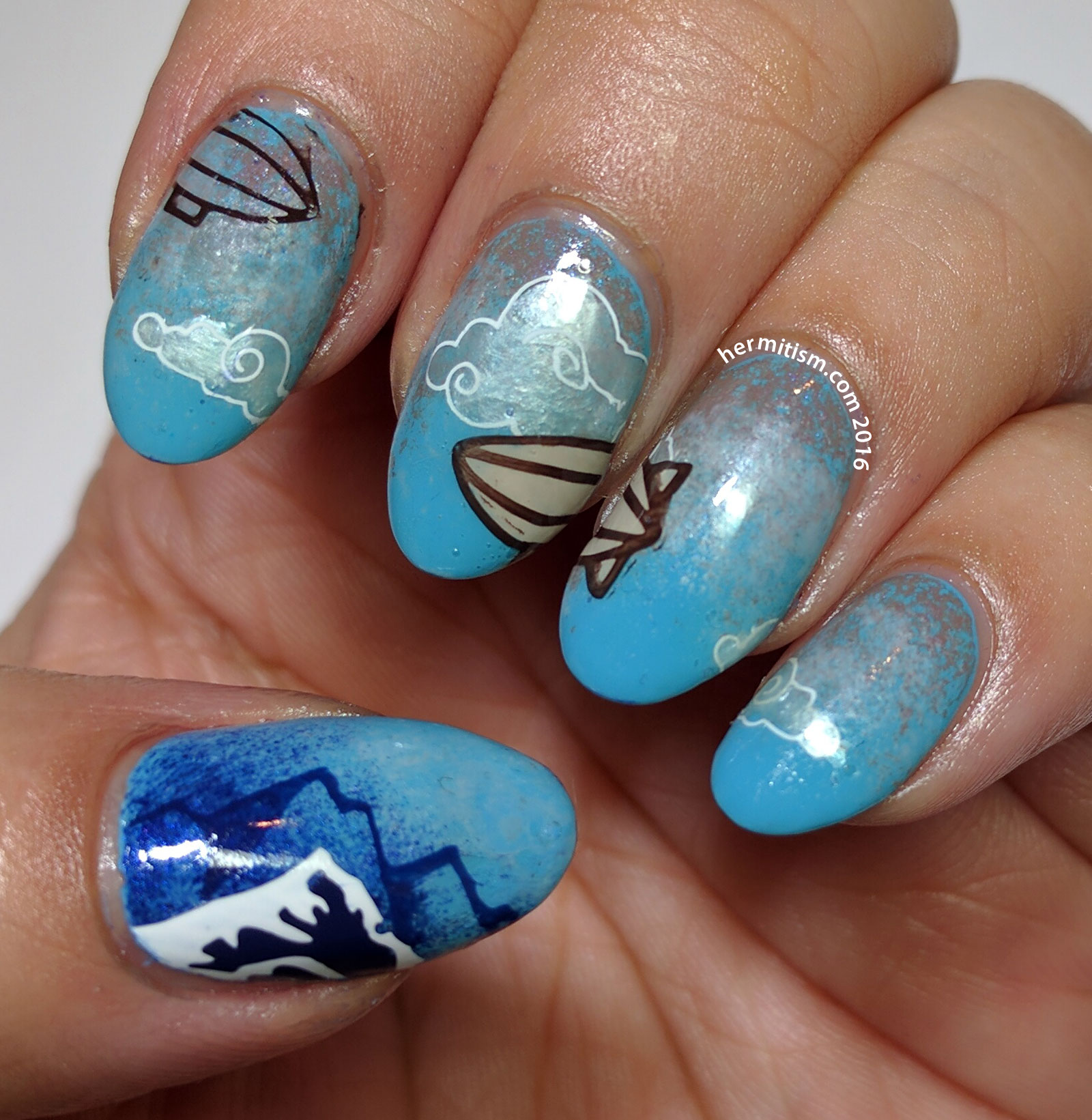 Z is for Zeppelin - ABC Nail Art Challenge - Hermit Werds