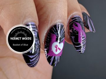 Animal Abuse Awareness - Hermit Werds - Animal Abuse Awareness stamping over purple/black holographic water marble