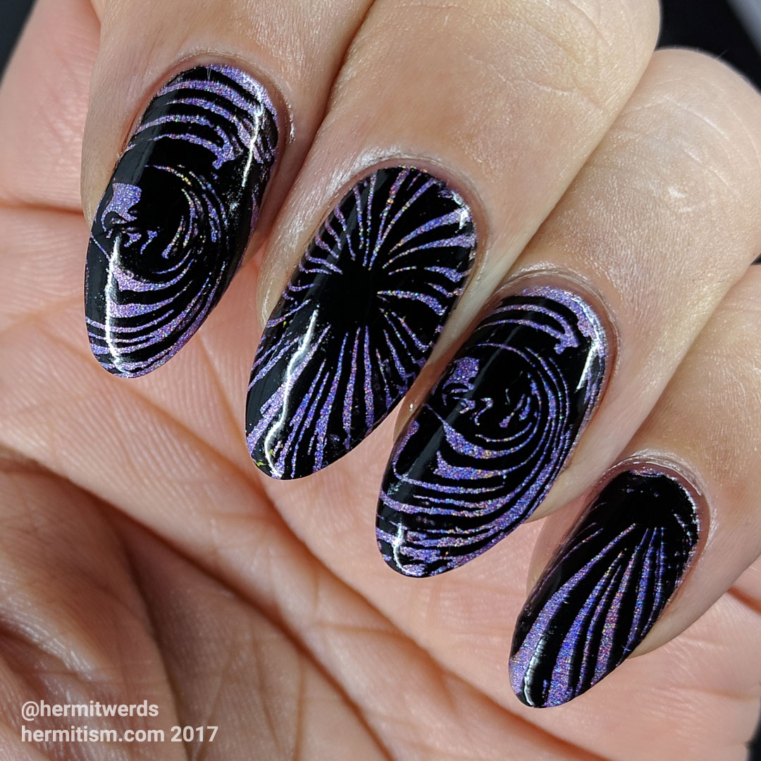 Holo & Black Water Marble - Hermit Werds - purple holographic polish stamped over with black water marble pattern