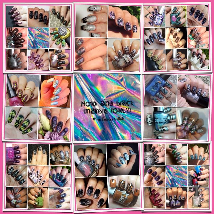 When Colours Collide Collage - Black and Holo Water Marble - Hermit Werds