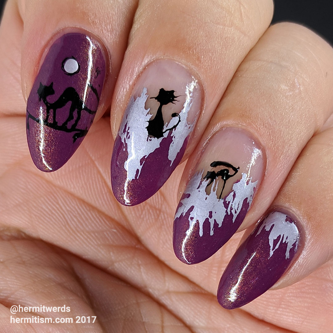 Black Cat v 2.0 - Hermit Werds - negative space nails in purple and silver with scrappy black cats