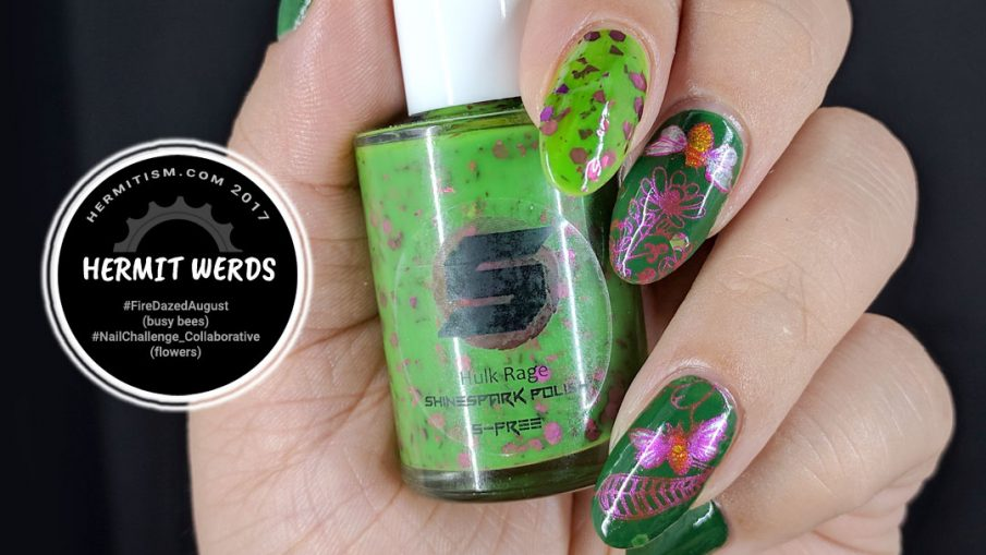 Busy Bees - Hermit Werds - metallic pink stamping of bees visiting flowers in the garden