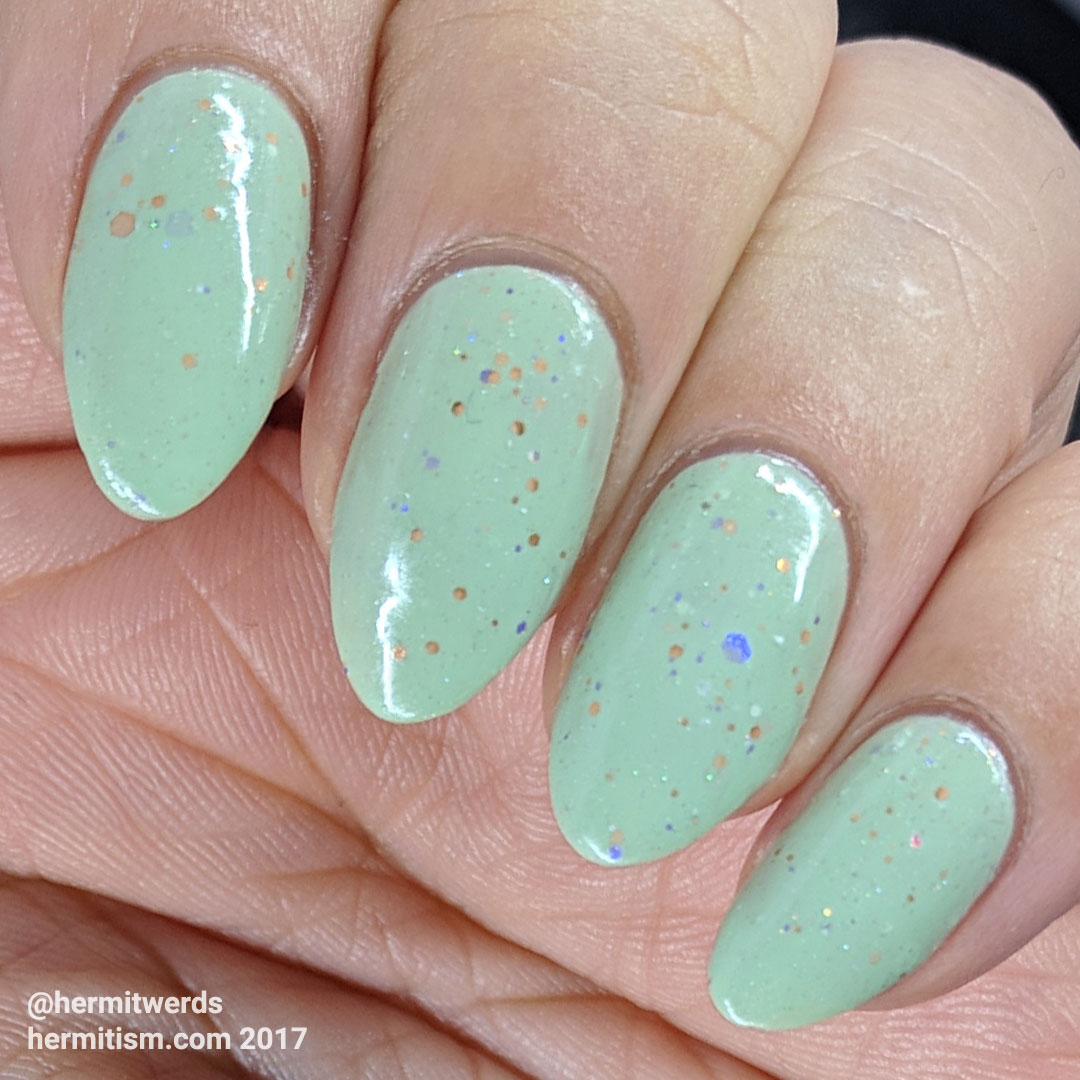 "KBShimmer's ""Sage It Ain't So"" - Hermit Werds - swatch of the sage green crelly"