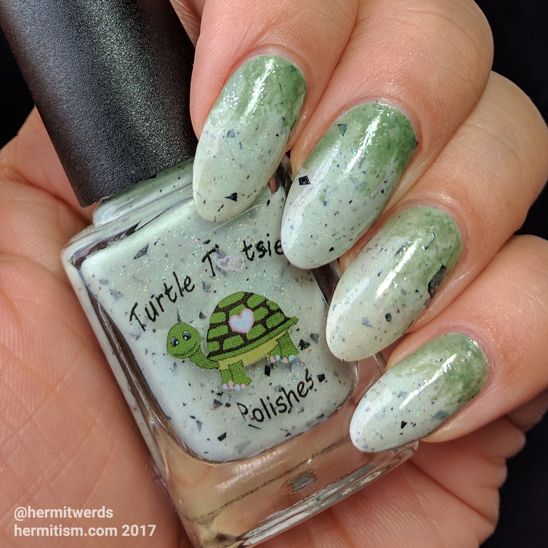 "Turtle Tootsie's ""Chocolate Chip Mint"" - Hermit Werds - swatch on natural nails"