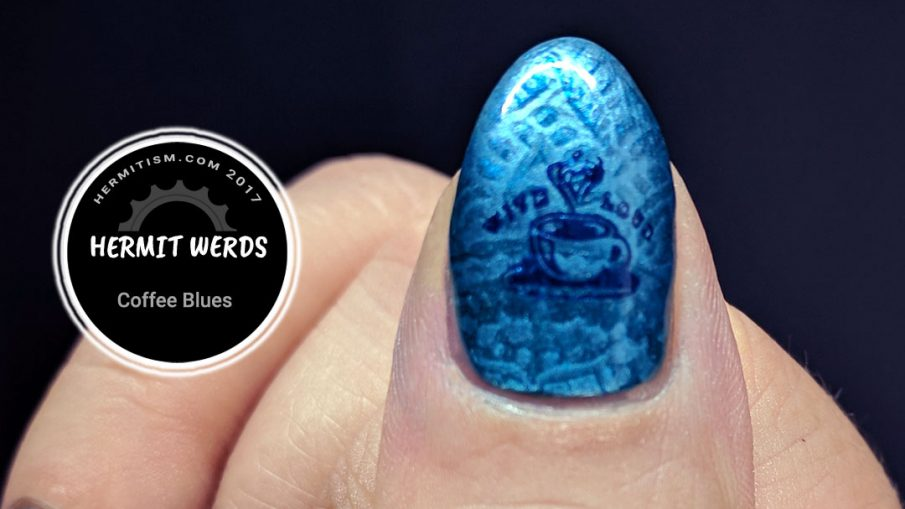 Coffee Blues - Hermit Werds - blue henna stamping with coffee stamping on top