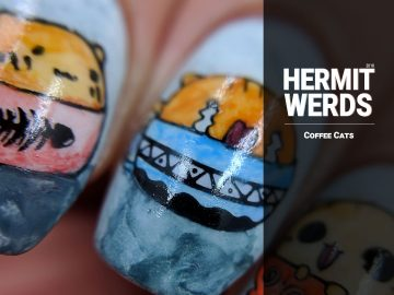 Coffee Cats - Hermit Werds - watercolor nail art of little cats in coffee mugs and a rodent sipping a cup of coffee