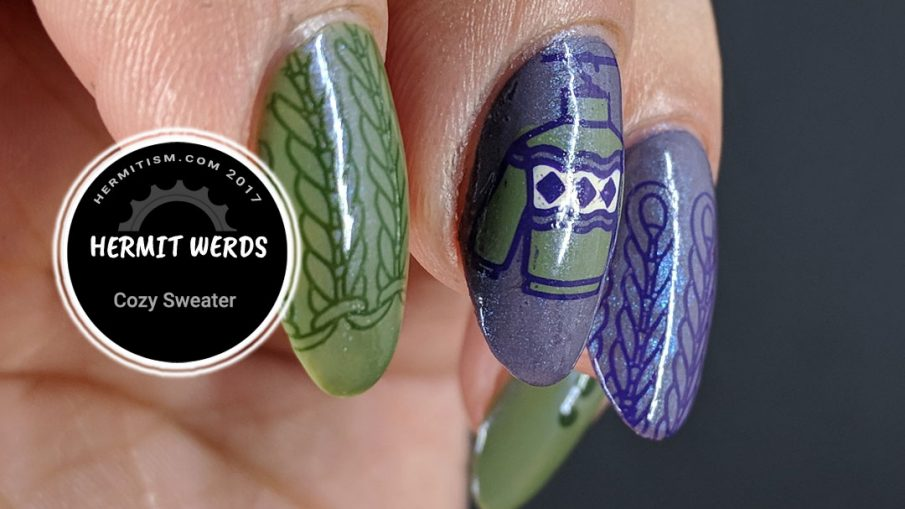 Cozy Sweater - Hermit Werds - a desaturated purple and green mani with sweater knit texture stamping