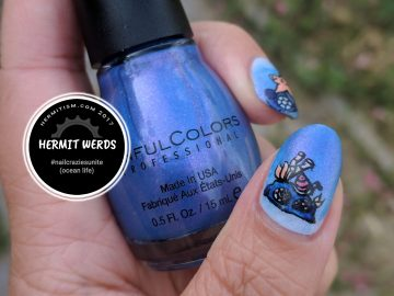 Cute Waters - Hermit Werds - #nailcraziesunite (ocean life)