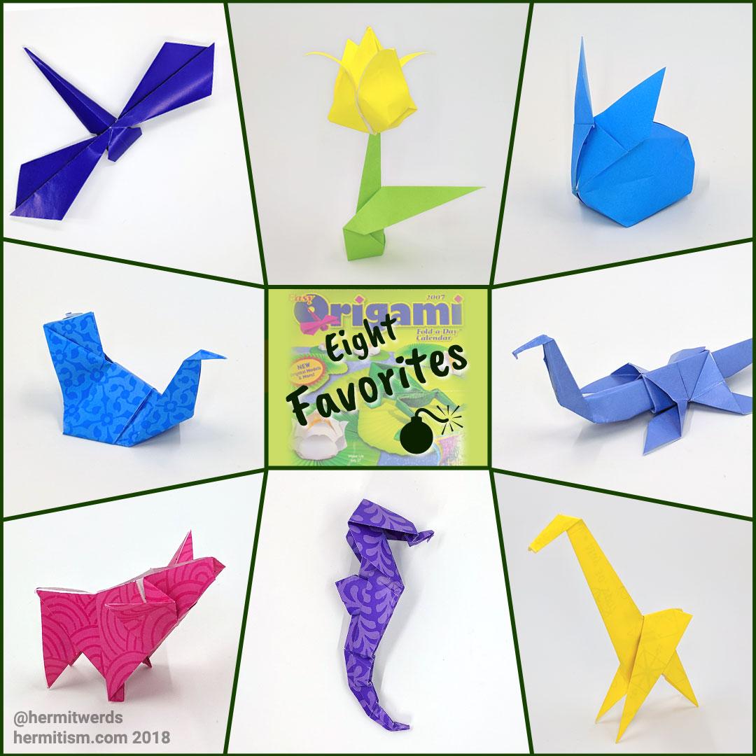 #DailyOrigami2007 - 8 Best Models - Hermit Werds - Origami models of the eight best origami models: dragonfly, tulip, bunny, bird, dinosaur, pig, seahorse, and giraffe