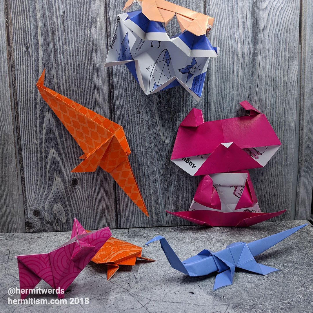 #DailyOrigami2007 - Hermit Werds - origami models: sunglasses, clam, swordfish, panda, pig, turtle, and dinosaur