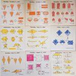 #DailyOrigami2007 - Hermit Werds - origami diagrams: sunglasses, clam, swordfish, panda, pig, turtle, and dinosaur