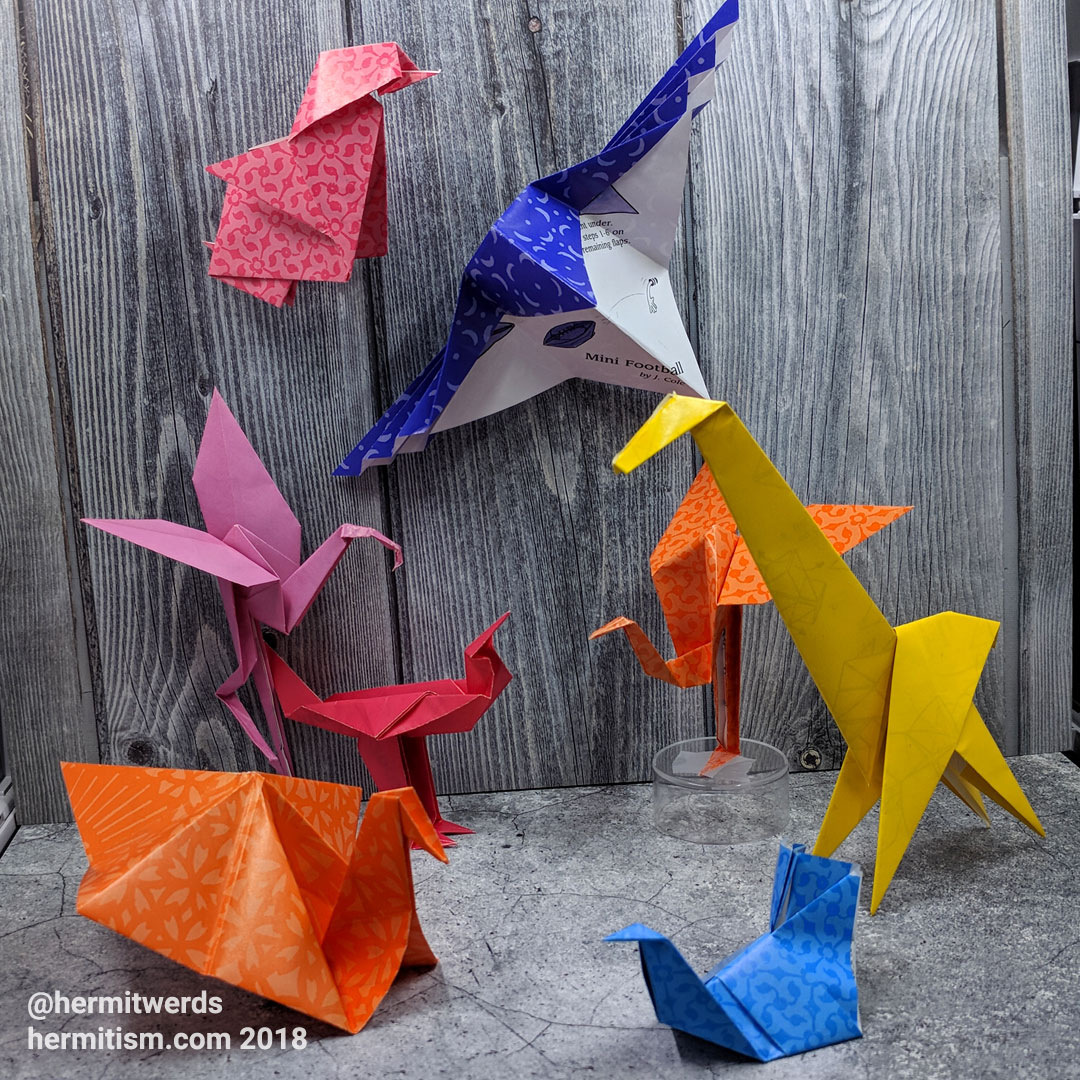 #DailyOrigami2007 - Hermit Werds - origami models: chick, hummingbird, flamingo, roadrunner, ostrich, giraffe, turkey, and paloma