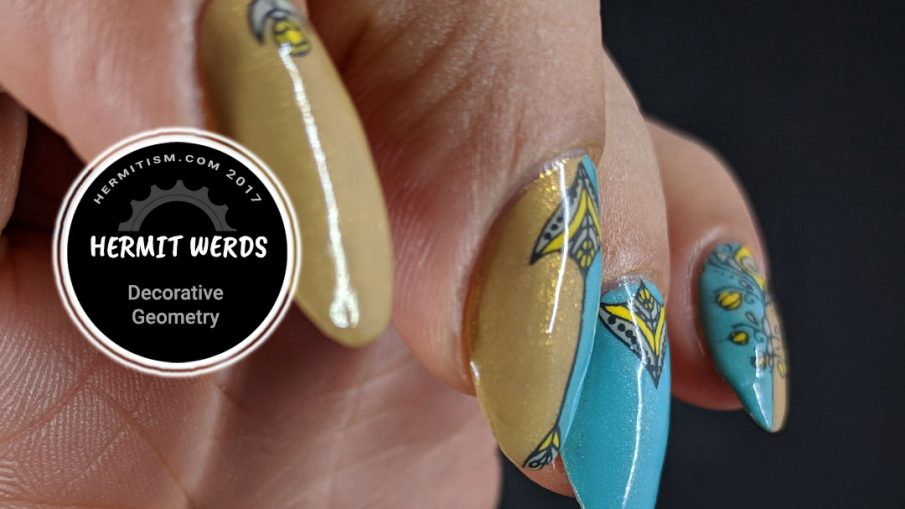 Decorative Geometry - Hermit Werds - geometric arrow stamping with a mint, grey, and yellow color scheme
