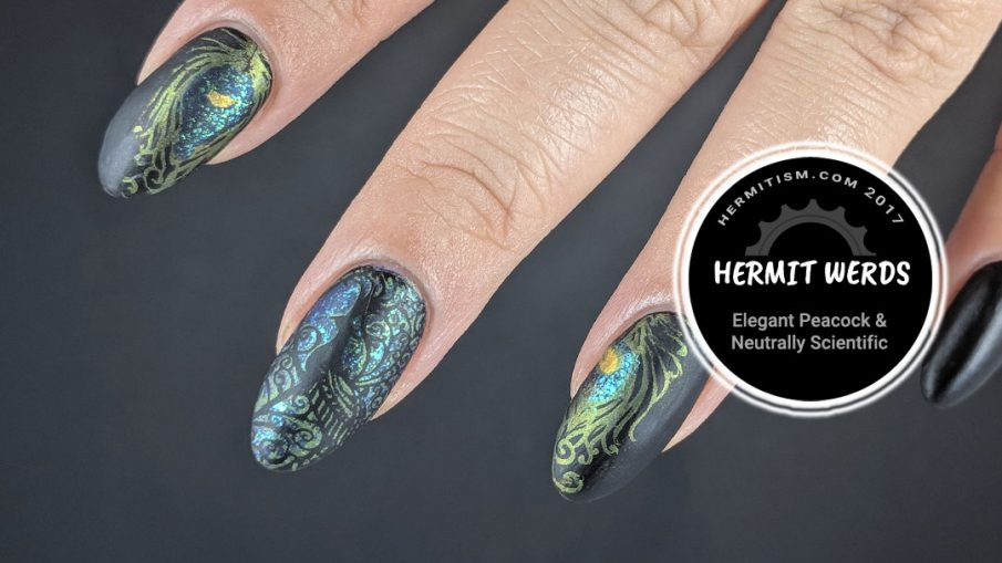 Elegant Peacock - Hermit Werds - blue and green metallic peacock stamping with black