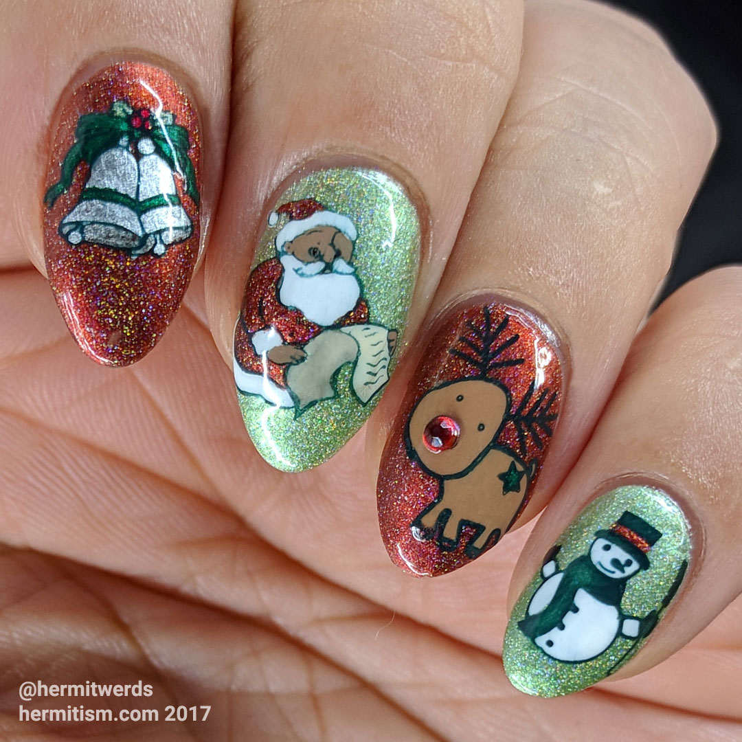 Elementary Christmas Songs - Hermit Werds - silver bells, Santa checking his list, Rudolph the red-nosed reindeer, and Frosty on a red and green holographic background