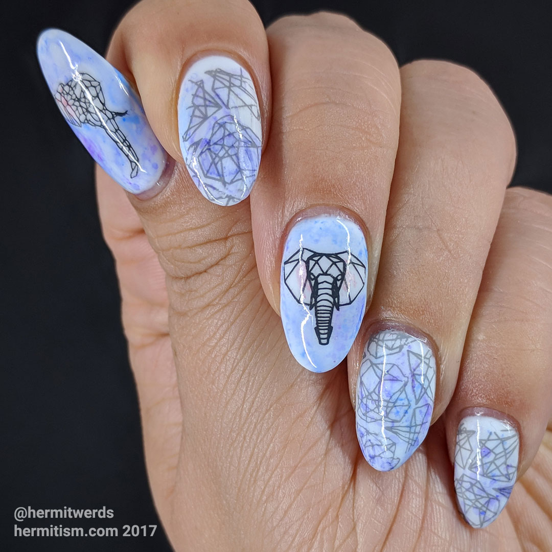 Endangered Elephant - Hermit Werds - a geometric elephant manicure in soft purples and blues