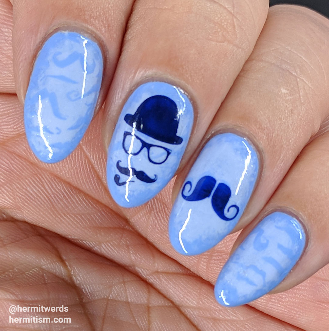 Face Worms - Hermit Werds - periwinkle mustache background with darker blue emo mustache stamping