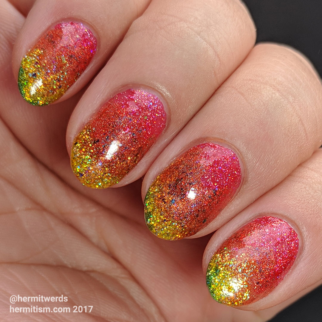 Holographic Fall Glitter Gradient - Hermit Werds - holographic autumn-colored gradient background