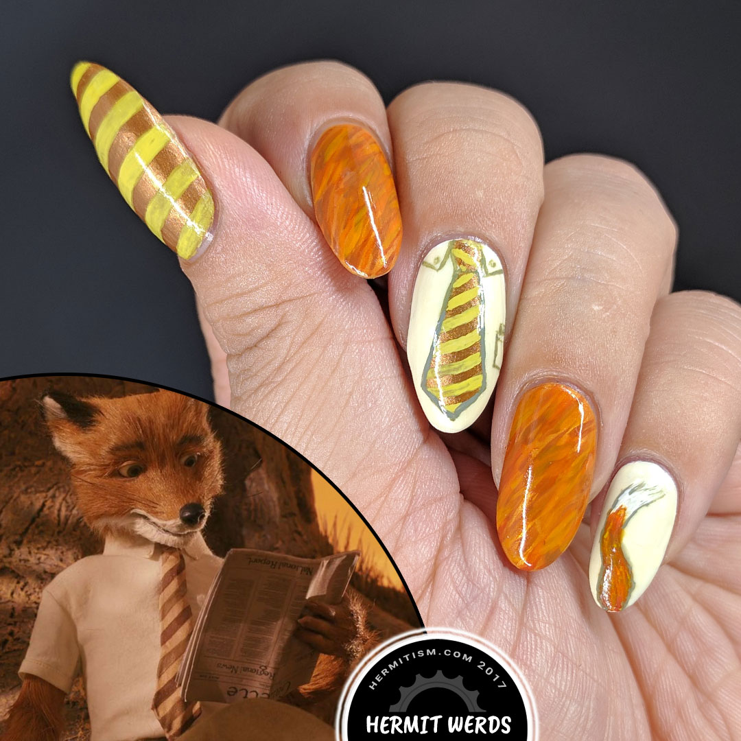Fantastic Mr. Fox - Hermit Werds - nail art featuring the movie version of the fantastic Mr. Fox