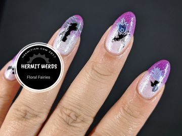 Floral Fairies - Hermit Werds - fairy silhouettes wearing skirts made of flowers on a thermal polish background
