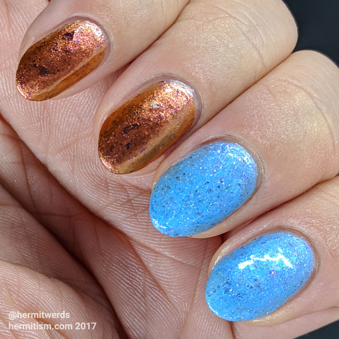 Ms Sparkle's Scheherazade and Rainbow Dash - Hermit Werds - swatches of the two polishes