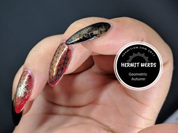 Geometric Autumn - Hermit Werds - geometric autumn patterns on chameleon holo powder