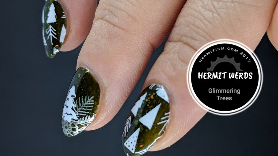 Glimmering Trees - Hermit Werds - beautiful Christmas trees stamped against a dark olive jelly background with opalescent glitter.