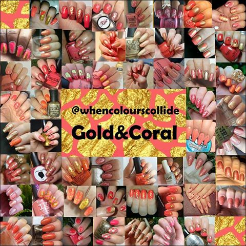 Coral and Gold Collage from @whencolourscollide July 2017
