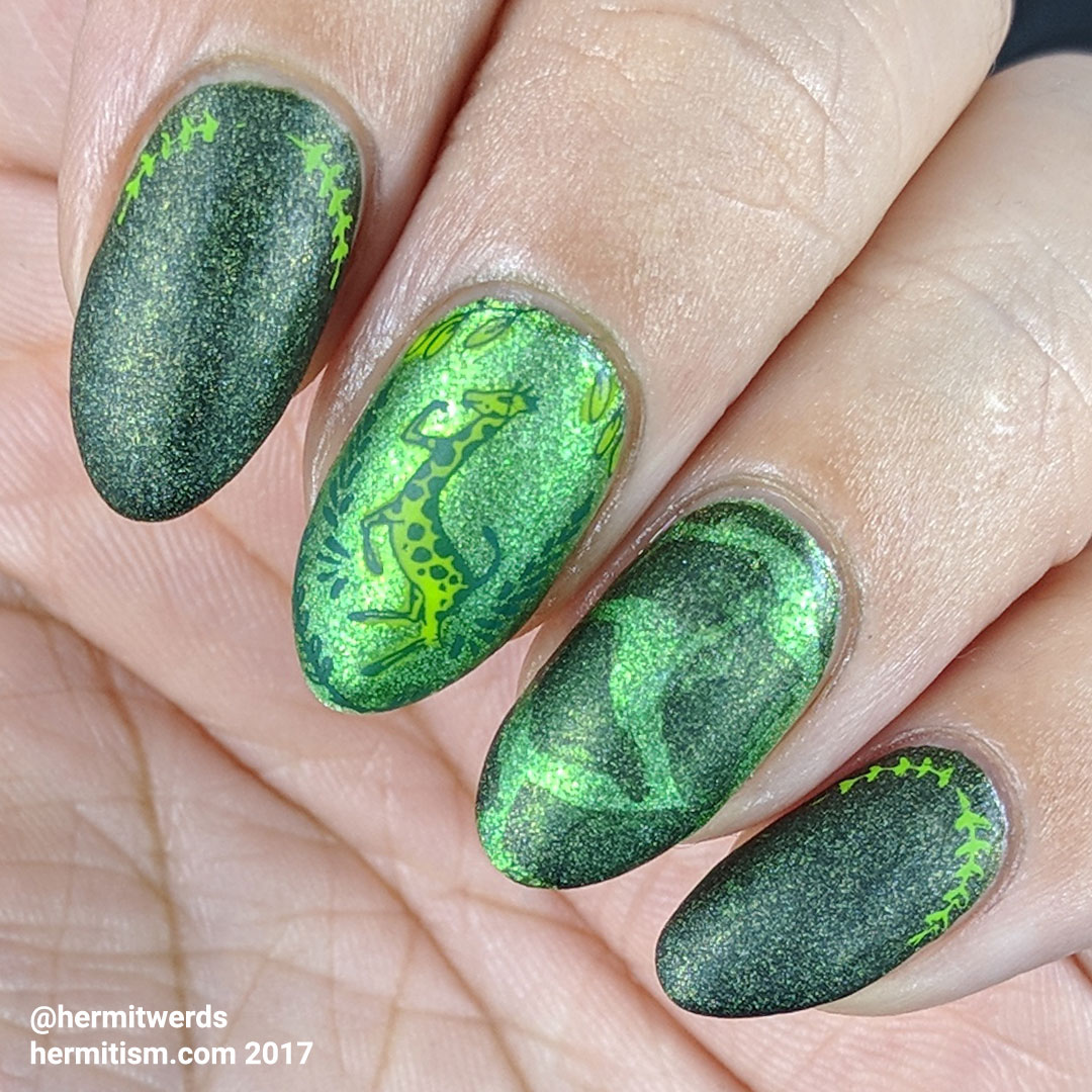 Green Giraffe - Hermit Werds - holographic green mani with a giraffe and green giraffe animal print