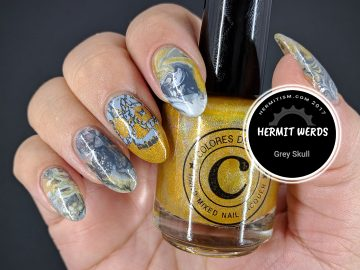 Grey Skull - Hermit Werds - gold and grey water marble with double stamped skull