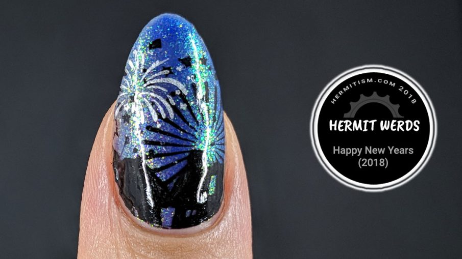 Happy New Year (2018) - Hermit Werds - black and silver firework stamping on a blurple background
