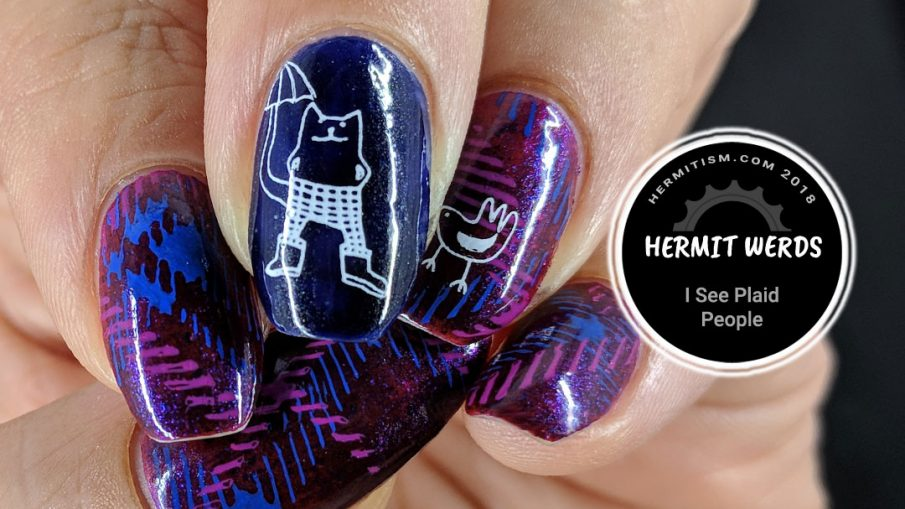 I See Plaid People - Hermit Werds - red jelly base with blue/violet/copper flakies with plaid stamping and a whimsical cat and bird on top