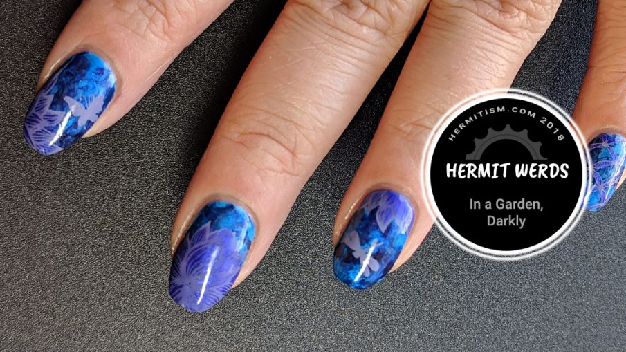 In a Garden, Darkly - Hermit Werds - dark blue smoosh marble background with shimmery purple flowers on top