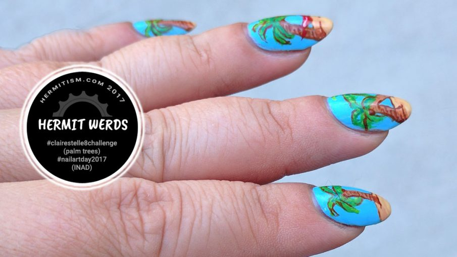 Palm Tree INAD (International Nail Art Day) - Hermit Werds - Freehand painted palm trees spelling INAD