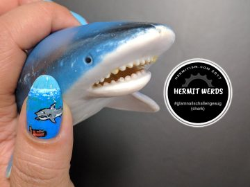 Jaws (NES) - Hermit Werds - shark freehand painted art from Nintendo's first Jaws game