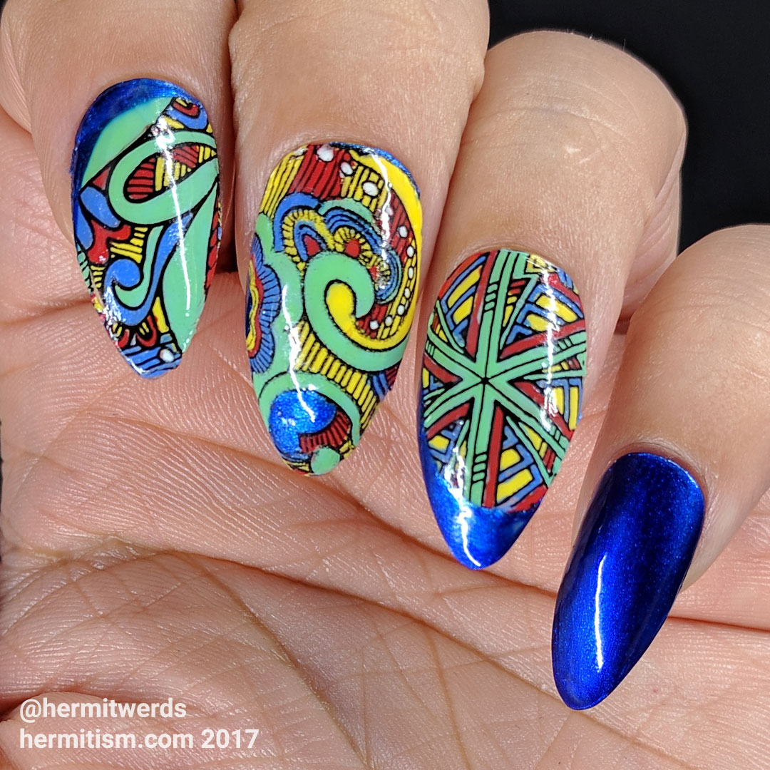 "KARA's ""Step"" - Hermit Werds - nail art based off of KARA's crazy colorful outfits in the music video Step"