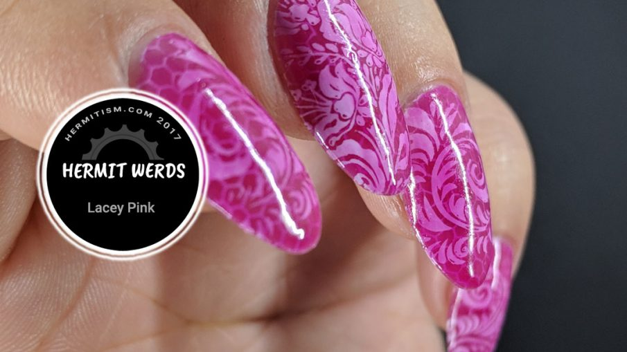 Lacey Pink - Hermit Werds - pond manicure with pink polish and lace stamping