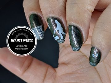 Lawns Are Materialism - Hermit Werds - green duochrome polish with barcode lawn mowing images