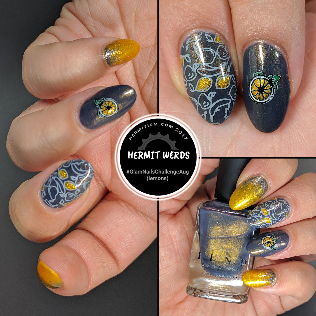 Lemons First - Hermit Werds - Yellow and grey manicure featuring glass fleck lemons