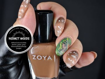 Mighty Jungle, Mighty Deer - Hermit Werds - Freehand painted brocket deer in the jungle accent nail with fawn pattern
