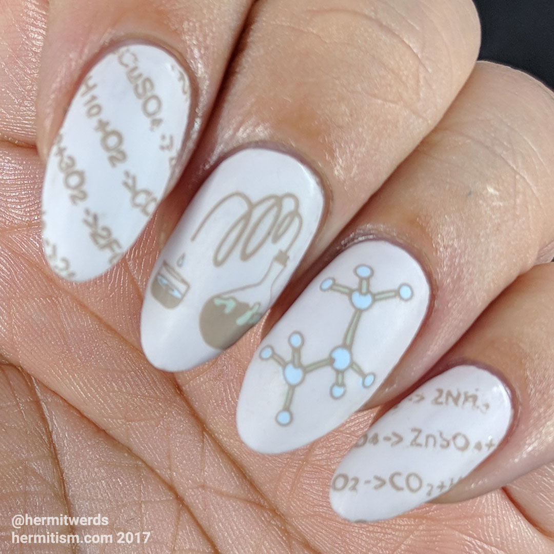 Neutrally Scientific - Hermit Werds - chemistry nails with atom model and distiller
