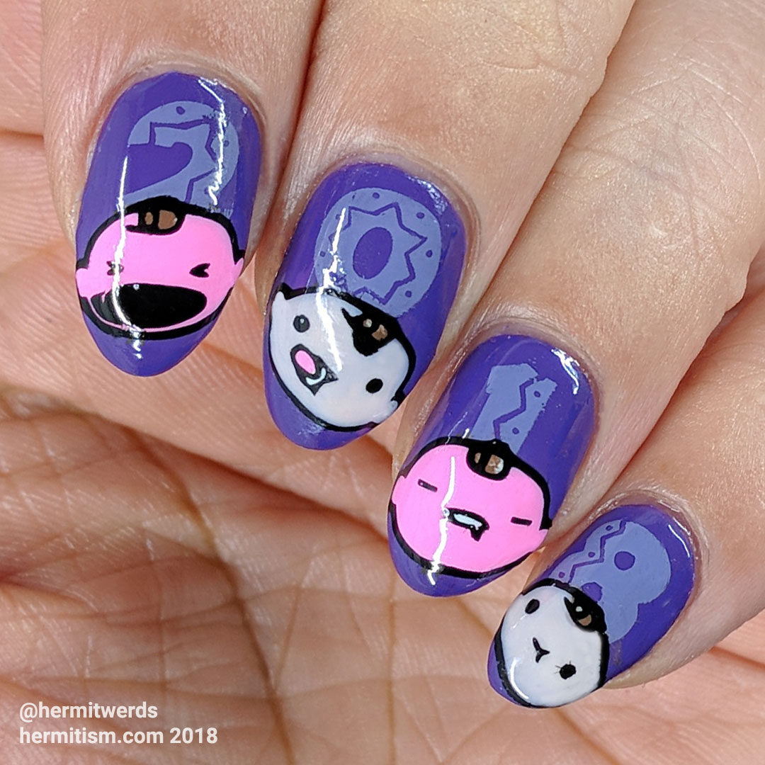 New Beginnings - Hermit Werds - Ultraviolet nail art for New Year 2018 with baby heads