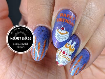 Happy Birthday! - Hermit Werds - Halloween-themed happy birthday nail art