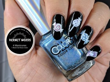 Candy Land Candies - Hermit Werd - holographic candy decals on a black gel base