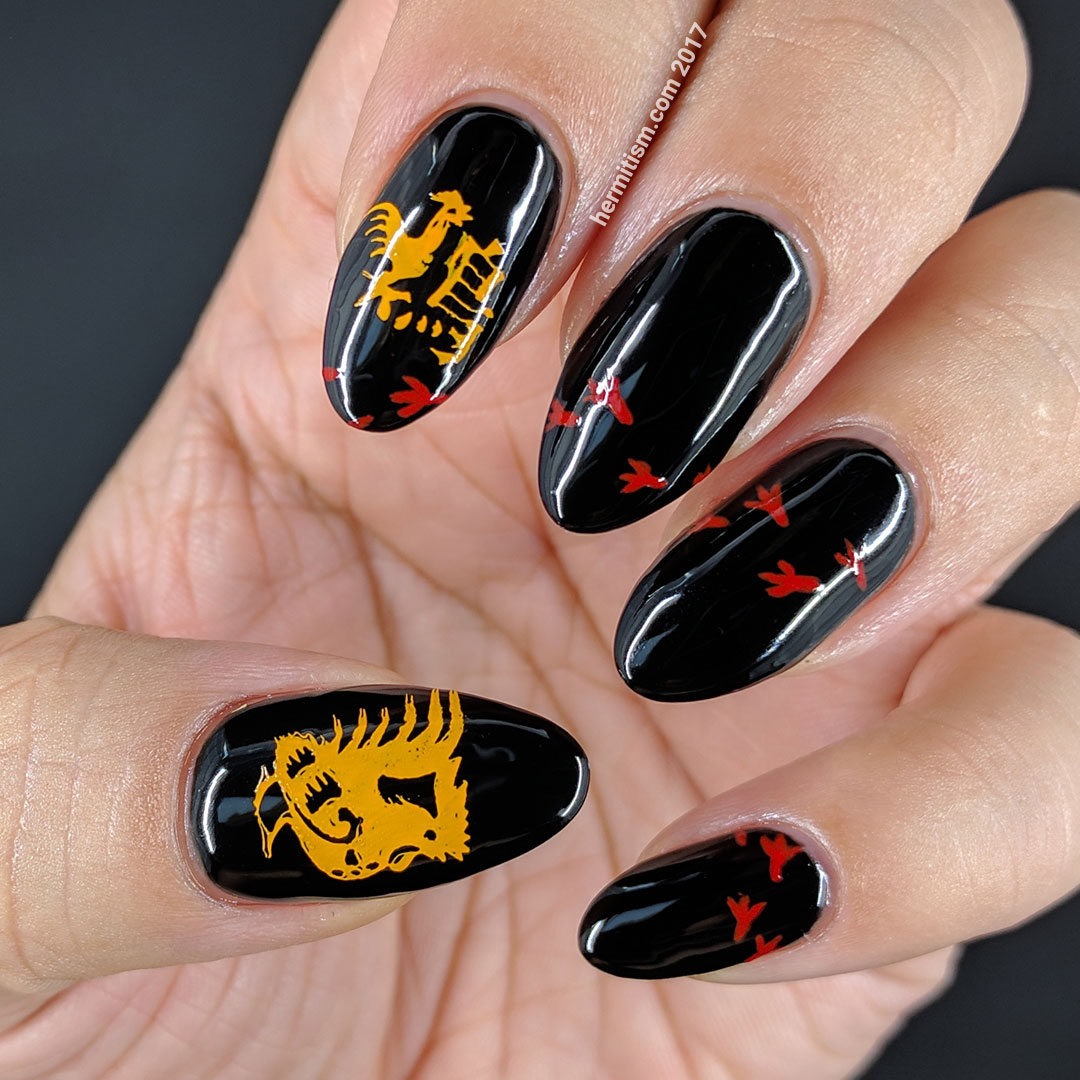 Year of the Rooster 2 - Hermit Werds - year of the rooster zodiac nails with little chicken tracks