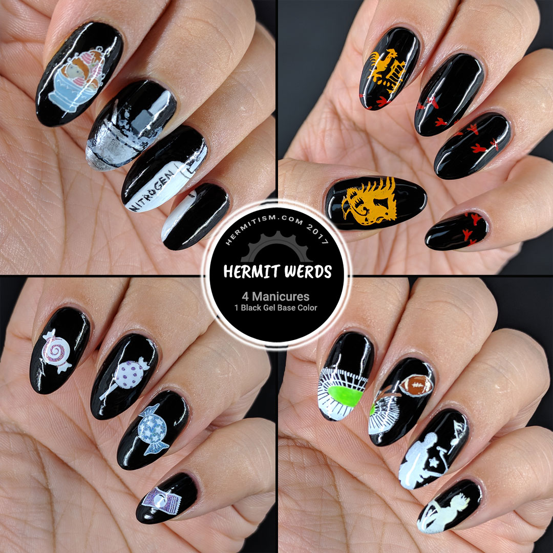 One Black Base - Four Looks - Hermit Werds - Four manicures on a black gel base