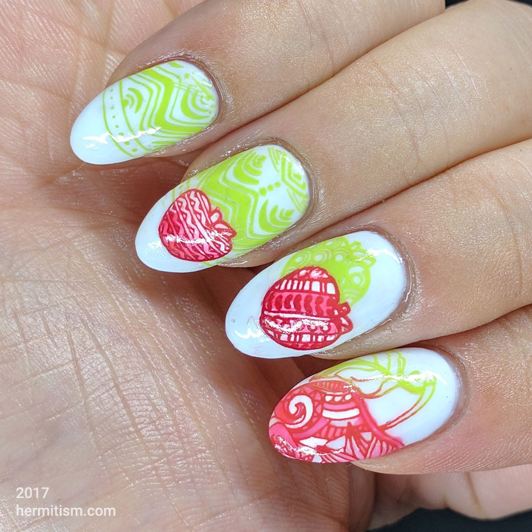 Apple Jelly - Hermit Werds - Colorful patterened apples colored in with neon jelly polish