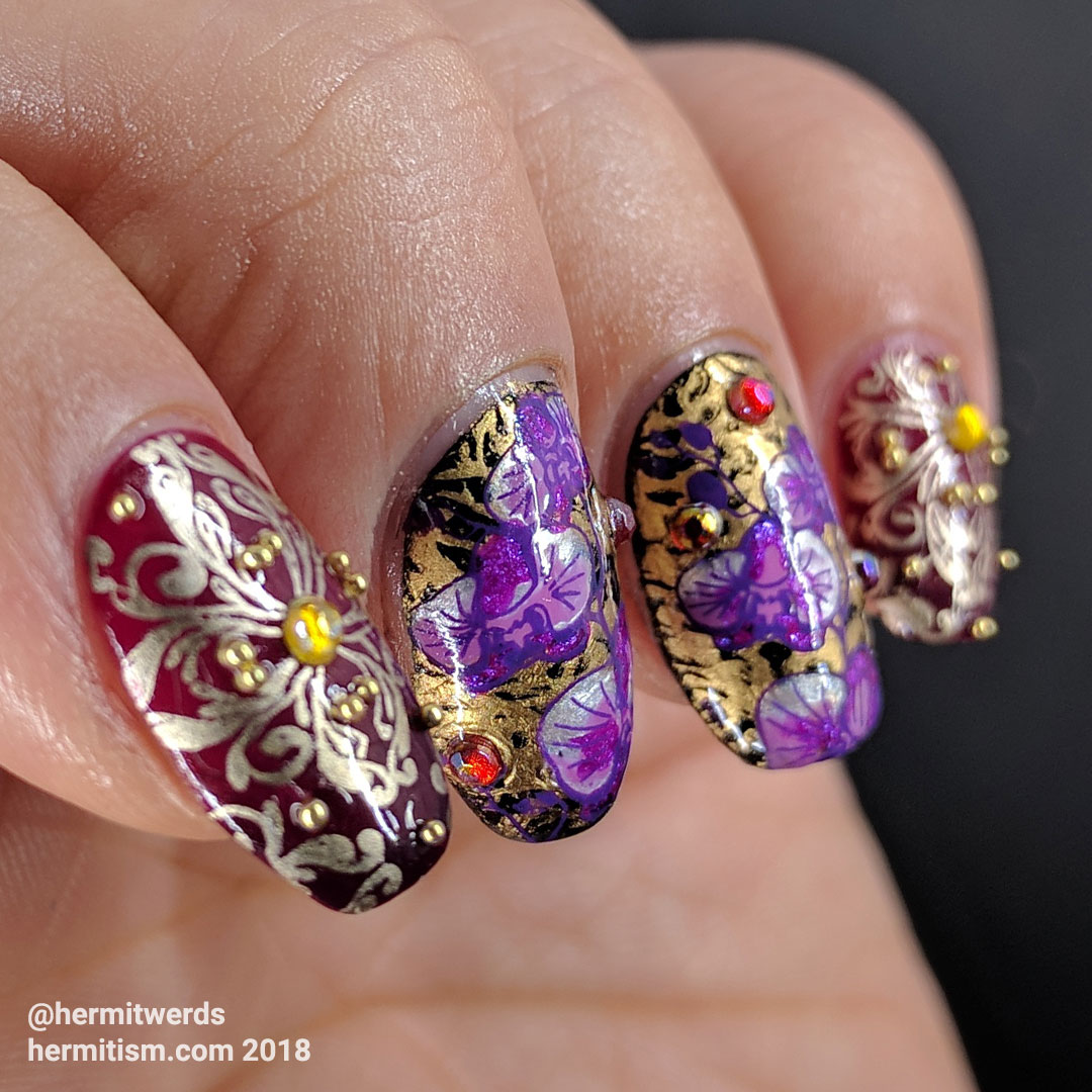 Orchid Damask - Hermit Werds - gold and purple damask pattern decorated with rhinestones and caviar beads and magenta orchids